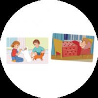 Пример карточек из набора «Мой день»