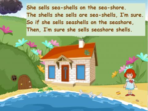 «She sells sea-shells», бесплатное пособие для английского языка
