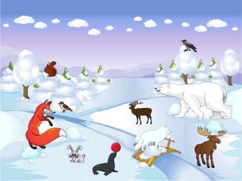 «дикие животные зимой», бесплатное пособие для лексических тем