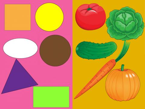 «Форма овощей», бесплатное пособие для логики, мышления, внимания
