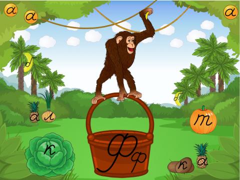 «Грамотная обезьяна», бесплатное пособие для букв, азбуки