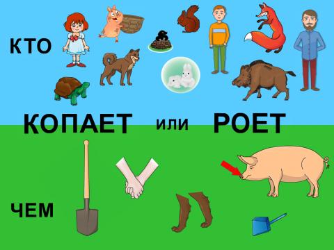 «Кто чем копает/роет?», бесплатное пособие для логики, мышления, внимания