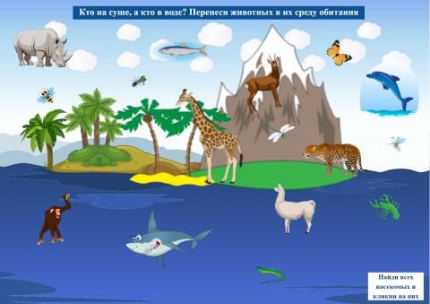 «Кто на суше, а кто в воде?», бесплатное пособие для окружающего мира