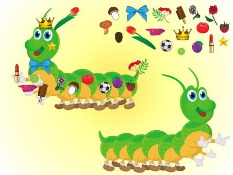 «Наряди гусеницу», бесплатное пособие для логики, мышления, внимания