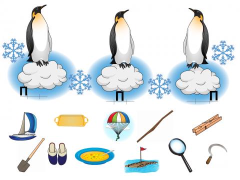 «Пингвины запутались», бесплатное пособие для звукового анализа слова