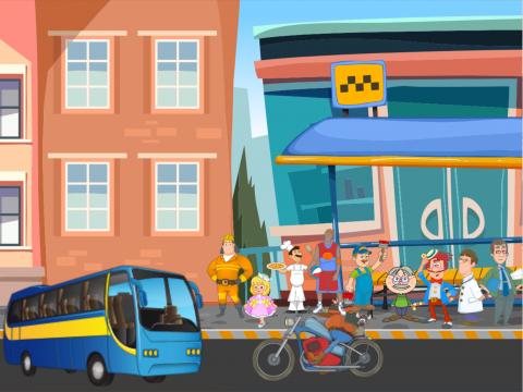 «Посади людей в автобус», бесплатное пособие для автоматизации звуков