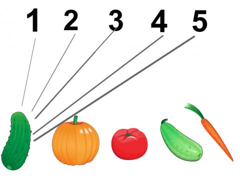 «Посчитай овощи.», бесплатное пособие для грамматических категорий