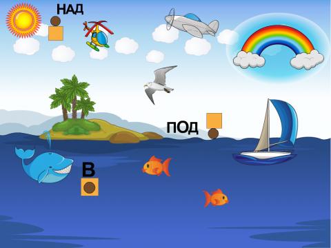 «Предлоги НАД - ПОД -  В», бесплатное пособие для русского языка