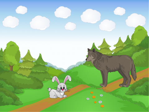 Встреча зайца и волка