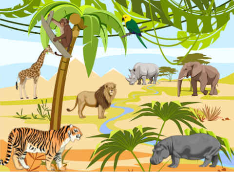 «Животные жарких стран», бесплатное пособие для окружающего мира
