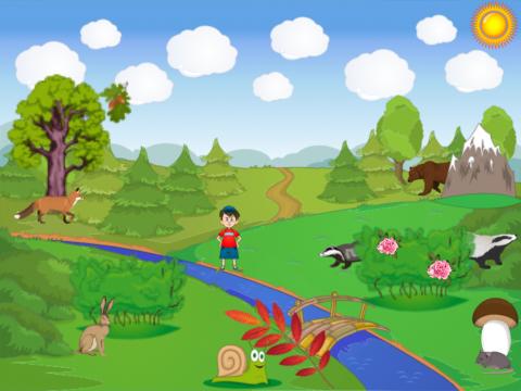 «На лесной поляне / Предлоги ЗА и ПОД», бесплатное пособие для грамматических категорий
