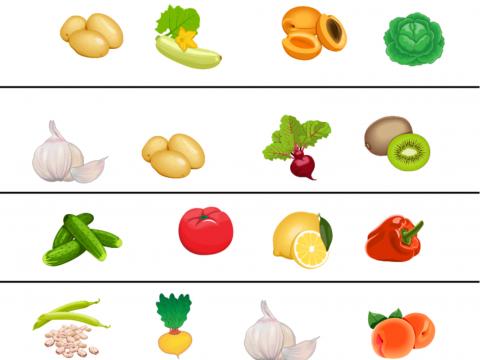 «овощи-фрукты», бесплатное пособие для лексических тем