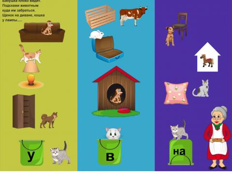 «Предлоги У,В,На», бесплатное пособие для грамматических категорий