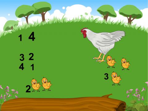 «Состав числа 4», бесплатное пособие для математики, счета