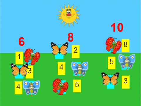 «Состав числа Поймай Бабочку», бесплатное пособие для математики, счета