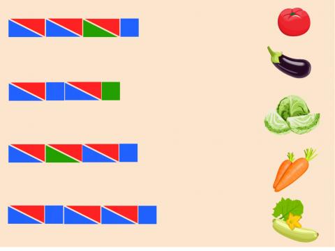 «Цветные схемы. Овощи», бесплатное пособие для звукового анализа слова